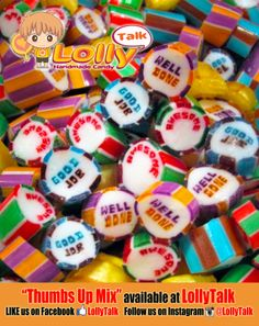 "Thumbs Up Mix! Consist of lettering lolly that says ""AWESOME"", ""WELL DONE"" and ""GOOD JOB""! Ideal gift to praise that someone who did a good job for you! Who can resist a yummy lolly as a sweet little appreciation?"