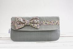 Gray Linen Bow Tie Clutch, Liberty of London,  Bags & Purses, Handbag, Clutch, Wallet on Etsy, $34.00