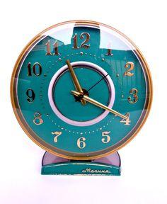 Vintage Russian Molnia by TheLostHomeland Green Clocks, Clock Display, Vintage Clocks, Tic Toc, Aqua, Turquoise, Time Clock, Alarm Clock, Horns