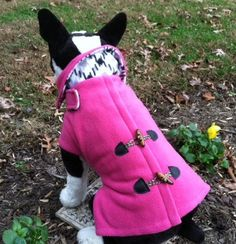 Dog Fleece Pink  Pea Coat by CustomDogJacket on Etsy, $56.99
