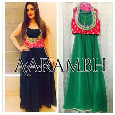 """""""Original picture !!! Georgette Anarkali with velvet jacket worn by #Bollywood #actress #Zareenkhan customised for a client for a mehendi function in green…"""""""