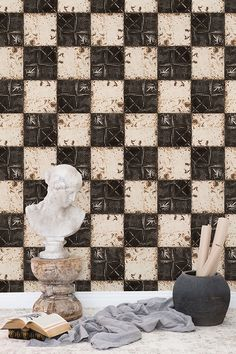 Tiles with patina as a wallpaper A N Wallpaper, Wallpaper Ideas, Brown Plates, Wall Murals, Design Trends, Boho Chic, Tiles, Home Decor, Wallpaper Murals
