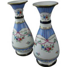 PAIR of Hand-Painted Floral Limoges Mantel Vases/Urns