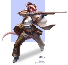 "bch-art: ""Finally got to introduce my new character, a female Tiefling Artificer Gunsmith named Zeal! She missed every shot she fired in the first session, so that bodes well."""