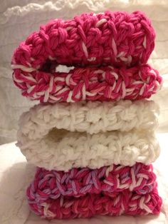 Cozy crocheted dishcloths in Passionate Pinks by AllAboutTheCozy, $6.00