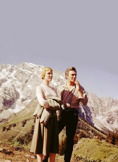 Julie Andrews and Christopher Plummer on the set of The Sound of Music (1965)