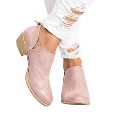 28909c783311 Womens Cutout Booties Ankle Boots Chunky Low Heel Almond Toe Stacked Zip Up  Boots    Nice of your presence to have dropped by to visit the picture.