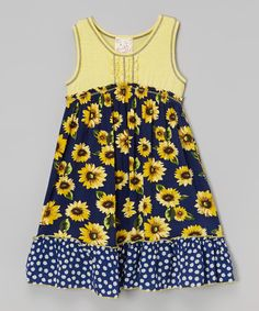 Look at this #zulilyfind! Navy & Yellow Floral Ruffle Dress - Toddler & Girls by Pink Vanilla #zulilyfinds