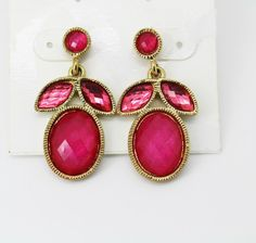 Style&co. Gold-Tone Fuchsia Stone Cluster Drop Earrings  #Styleandco #DropDangle