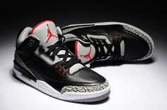 Air Jordan III --Colorway: Black/Cement  --Legendary designer Tinker Hatfield re-introduced Jordan's signature line with the first mid-cut basketball sneaker. But it was the tumbled leather and elephant-skin print wrapping the toe and heel that established the Jordan 3 as a sneaker that could be worn proudly both on and off the hardwood. #AirJordan #MichaelJordan #sneakers #sneakerhead #basketballshoes #AirJordanIII