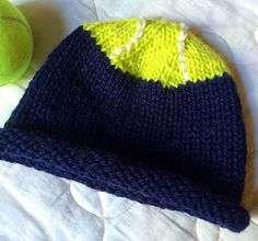 Tennis Ball Roll-Brimmed Hat by Jamie Hoffman. malabrigo Worsted. Fluo colorway and Blue Sky Alpaca.