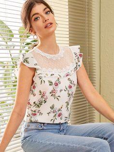 Lace Insert Ruffle Armhole Floral Print Top [swblouse07190702551] - $18.00 : dailytowear.com