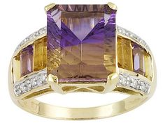 Mandiore ღAmetrine, Citrine And Amethyst 5.36ctw With Diamond Accent 10k Yellow Gold Ring