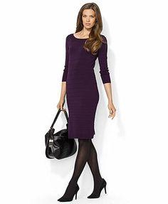 Lauren Ralph Lauren Dress, Three-Quarter-Sleeve Sweaterdress