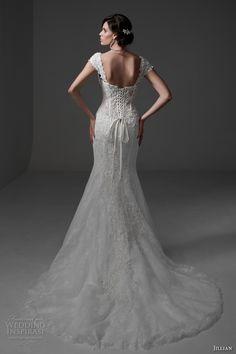 jillian 2017 bridal cap sleeves sweetheart neckline bustier bodice full embellishment sexy lace mermaid wedding dress chapel train (melania) bv
