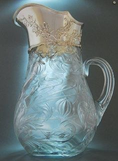 Beautiful cut glass pitcher.