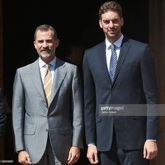 Spanish basketball player Pau Gasol (R) receives the 'Camino Real' award from King Felipe VI of Spain (L) at the Alcala de Henares University on July 15, 2015 in Alcala de Henares, Spain.