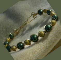 Wire Wrapped Bracelet  Green Glass Pearls in by JewelryArtistry