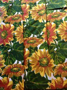 Vintage Retro 1970s Sunflower Curtains Retro Drapes by Retro68