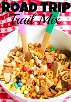 Road Trip Trail Mix For this trail mix you'll need:  2 heaping cups of some sort of Chex Mix  2 heaping cups of some sort of cheese crackers~{Cheese Nips or Goldfish}  2 heaping cups of some sort of snack mix with bagel chips (gardetto) 2 heaping cups of Bugles  1 heaping cup white chocolate chips  1 bag of M's {peanut or plain}  1 cup yogurt covered blueberries and cherries {raisins would be fine}  coarse sea salt to taste