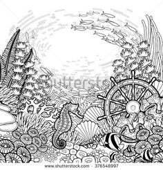 74dda0a5759f0 Graphic coral reef with sea horse, ocean fish and sunken ship helm drawn in  line
