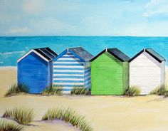 Southwold Beach Huts Beach Huts Art, Beach Art, Mexican Paintings, Happy Paintings, Landscape Drawings, Watercolor Landscape, Watercolor Artwork, Watercolor Illustration, Beautiful Beach Pictures