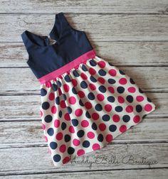 Preppy Pink and Navy Dot Girls Sleeveless Dress - Polka Dot, Navy and Pink, Girls Dress, Toddler, Baby Dress
