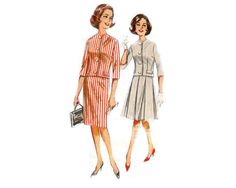 Suit with semi-fitted, collarless jacket and slim or box-pleat skirt - 1962 Complete Original Butterick Pattern #2258