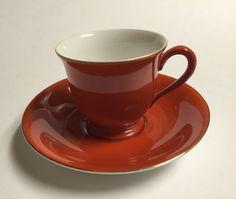 Noritake Vintage Demitasse Cup & Saucer Set Morimura Oxblood Red & White Japan #Noritake