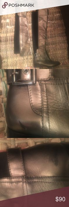 Tory Burch over the knee/knee high boots Gunmetal gray with a touch of green leather and black elastic Tory Burch boots. In great condition, minus some scuff marks (see photos). They have barely been worn as they are not the most flattering for me since I'm very short. Priced to sell! Tory Burch Shoes Over the Knee Boots