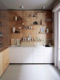 pegboard kitchen wall - adjustable shelving