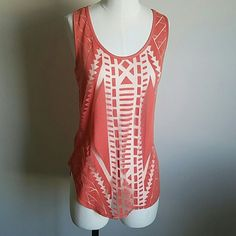 Sheer tribal design t shirt Tribal pattern sheer summer tank top | perfect over a swimsuit or bra for clubbing | pairs good with jean shorts or skinny jean | nice bright color Mossimo Supply Co Tops Tank Tops