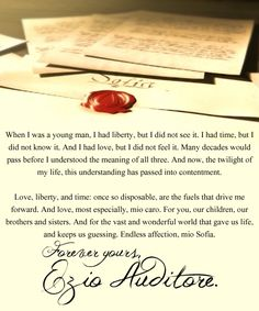 Ezio Auditore's letter to his Sofia, very lovely.