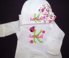 Baby Girl Coming Home Outfit Baby Girl Clothes Take Home Outfit Gown or Bodysuit Hat With Bow Monogram Ladybug Personalized Girl Gift Personalized Baby Girl Clothes Gown with by JoannesEmbroidery Girls Coming Home Outfit, Take Home Outfit, Girl Gifts, Baby Gifts, Toddler Themes, Baby Gown, Newborn Gifts, Long Sleeve Bodysuit, Ladybug