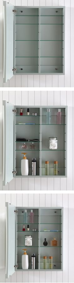 Bathroom organization goals! This medicine cabinet has 8 adjustable shelves, making it easy to organize and store all of your beauty essentials. Shop this look from the Martha Stewart Living Sutton Bath Vanity Collection only at @homedepot.