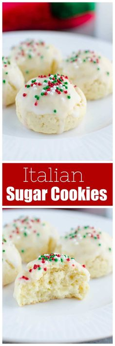 Italian Sugar Cookies - soft lemon sugar cookies with a lemony glaze and sprinkles on top! These are a Christmas favorite and are so cute in cookie tins. Best Cookie Recipes, Best Dessert Recipes, Easy Desserts, Holiday Recipes, Delicious Desserts, Christmas Recipes, Lemon Desserts, Top Recipes, Candy Recipes
