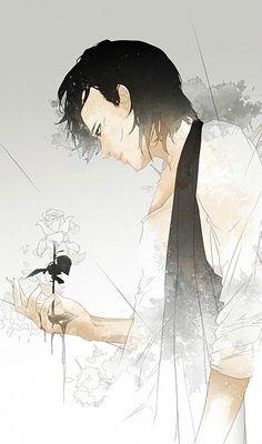 Re°, Holding Flower, Wet Hair, White Flower, Wet Manga Art, Anime Art, Character Inspiration, Character Art, Boy Art, Anime Guys, Amazing Art, Watercolor Art, Fantasy Art