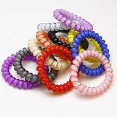 Telephone Wire Hair Ring Headbands Traceless Gum Colored Elastic