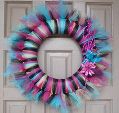 Colorful Zebra Tulle Tutu Wreath by Wreathapedia on Etsy. , via Etsy.