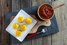 Polenta Cornballs with Easy Spicy Marinara Sauce (Arrested-Development inspired)