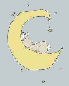 Bunny Nursery Art -- Bunny Moon Dream -- Bunny Art, Woodland Nursery -- Nursery…