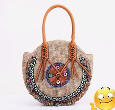 Buy Straw Bag Tote- Woman Round Handmade Purse Summer Beach Woven Shoulder Bag 4190 - Beige - and Get More Latest Women Shoulder Bags Enjoy Up to off. Ethnic Bag, Cheap Purses, Handmade Purses, Crochet Handbags, Crochet Bags, Boho Bags, Shoulder Handbags, Shoulder Bags, Shoulder Straps
