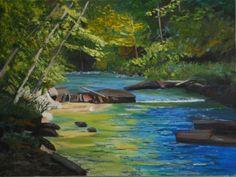 idyllic -- slow river, rocks flat, not threatening, deciduous trees, warm colours painting by Margaret Farrar