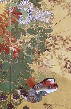 Suzuki Kiitsu. Birds and Flowers of the Four Seasons. Detail of left screen. Pair of Japanese folding screens. Nineteenth century.