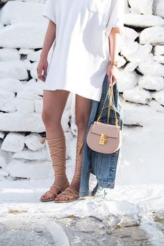 Chloe Drew bag mini, denim jacket and gladiator sandals as seen at Stella Asteria