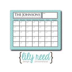 Personalized Dry Erase Calendar Memo Board with Clover by LilyReed, $16.00