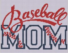 Mother Bee Designs: Baseball Mom Cross Stitch Pattern