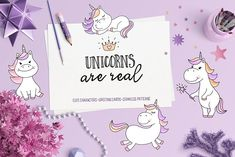 Unicorns Are Real Clipart by Teneresa on @creativemarket