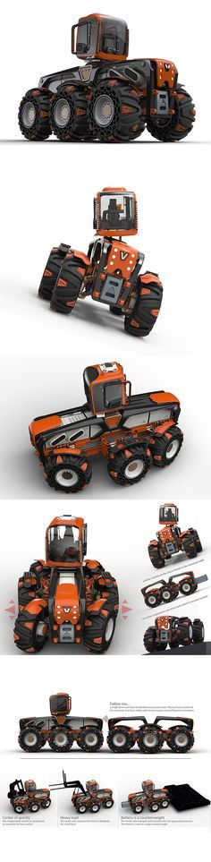This modular tractor concept is incredibly versatile and designed to be universally connectable to a myriad of accessories and equipment add-ons. Because much of the untouched terrain is treacherous, it requires a seriously tough tool for such a transformation to happen. Aptly named for its 6 figure wheel configuration, Triple V is capable of not just tackling any terrain but tilling or leveling it for a number of applications from farming to structural development.