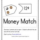 Money Match Game  (free printable from TPT)  *Sierra*